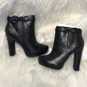 JustFab Black Platform Zip Up Booties 7